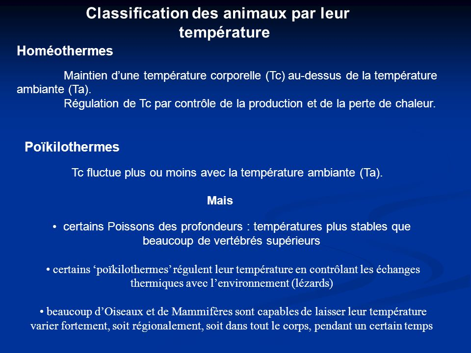 Classification des animaux par leur température Homéothermes Maintien dune température corporelle (Tc) au-dessus de la température ambiante (Ta). Régu