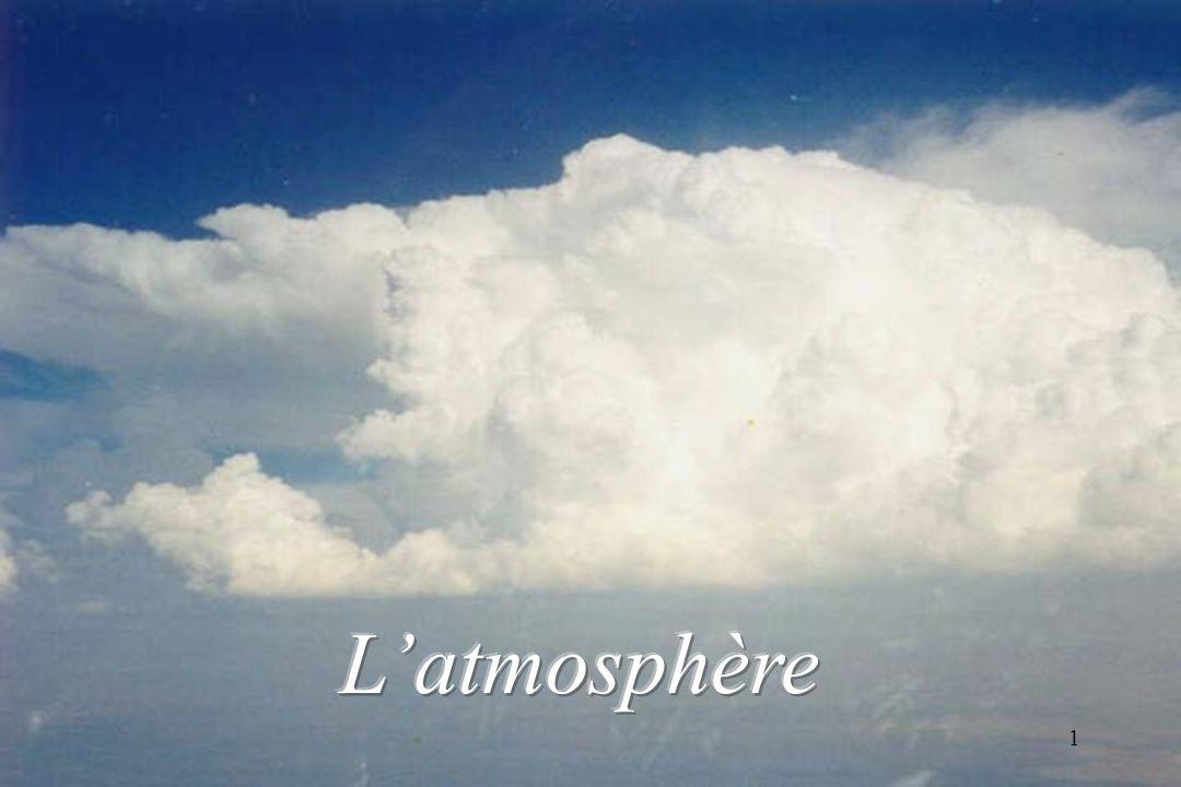 l air atmosphérique AZOTE 78% OXYGENE 21% GAZ RARES Argon: 0.9% et Xénon, Néon, Hélium à l état de « traces » est un mélange de divers gaz, certains en proportions quasiment invariables : Gaz carbonique 0,035% Sur une épaisseur denviron 80 km, Cette partie de latmosphère terrestre est appelée « homosphère » et correspond globalement à latmosphère « météorologique ».