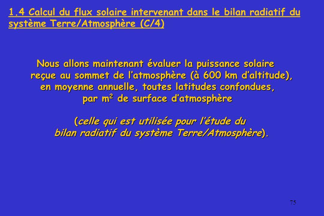 76 L intensité du rayonnement solaire arrivant au sommet de l atmosphère,perpendiculairement à la direction Soleil/Terre étant de 1370 W/m 2 (constante solaire C ), L intensité du rayonnement solaire arrivant au sommet de l atmosphère,perpendiculairement à la direction Soleil/Terre étant de 1370 W/m 2 (constante solaire C ), l énergie E interceptée, pendant une année, par un cercle perpendiculaire au rayonnement solaire, de rayon R égal à celui de la terre et de son atmosphère est égale à : Au cours d une année, cette énergie se répartit, de façon certes très inégale, à la surface S = 4 R 2 de la sphère de rayon R.