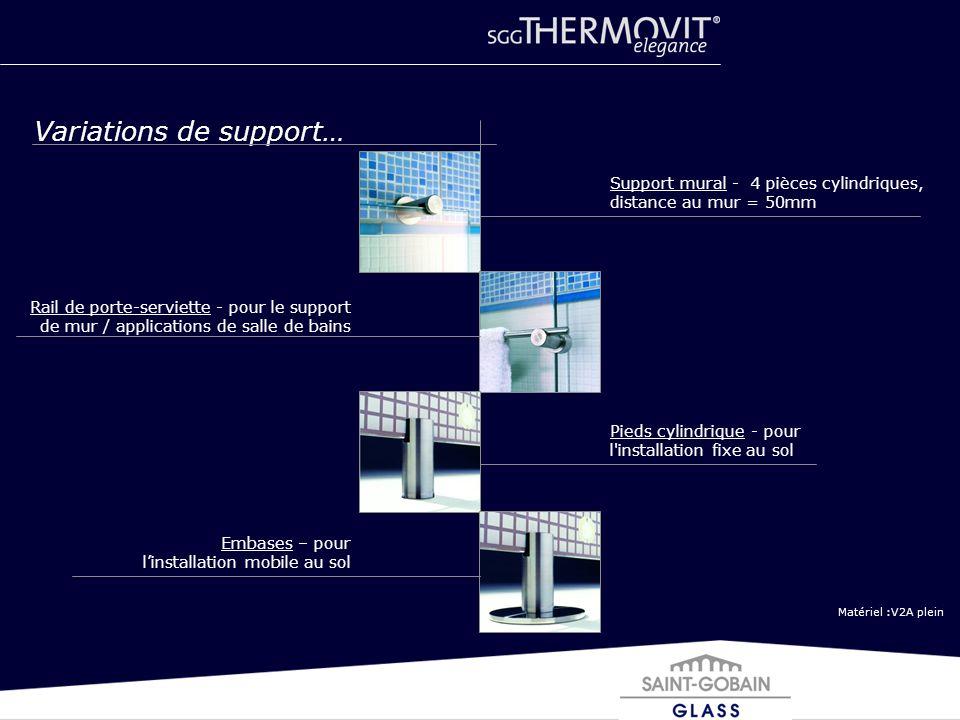 Matériel :V2A plein Variations de support… Support mural - 4 pièces cylindriques, distance au mur = 50mm Rail de porte-serviette - pour le support de
