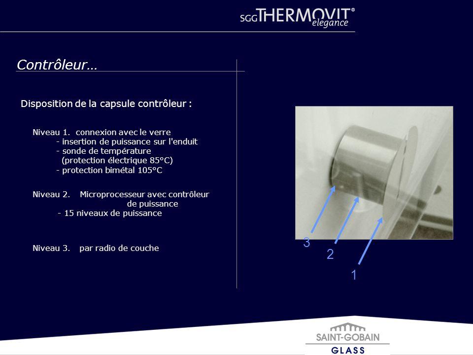 Disposition de la capsule contrôleur : 12 3 Contrôleur… Niveau 1. connexion avec le verre - insertion de puissance sur l'enduit - sonde de température