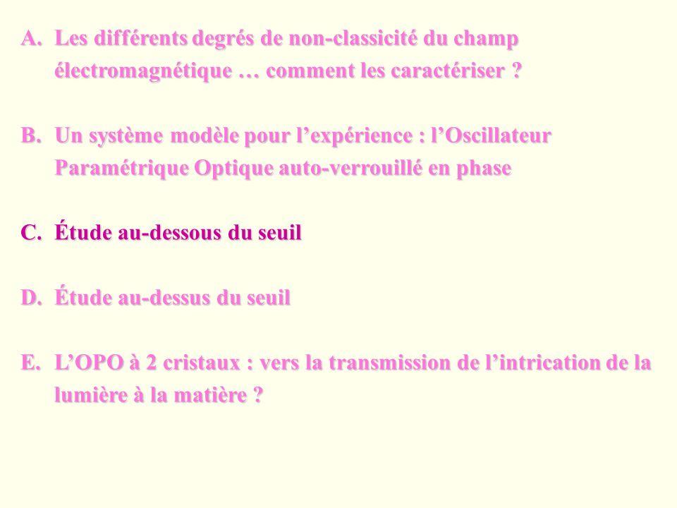 A.Les différents degrés de non-classicité du champ électromagnétique … comment les caractériser ? B.Un système modèle pour lexpérience : lOscillateur
