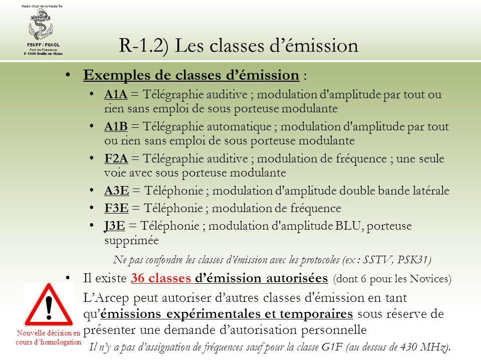 R-1.2) Les classes démission Exemples de classes démission : A1A = Télégraphie auditive ; modulation d'amplitude par tout ou rien sans emploi de sous