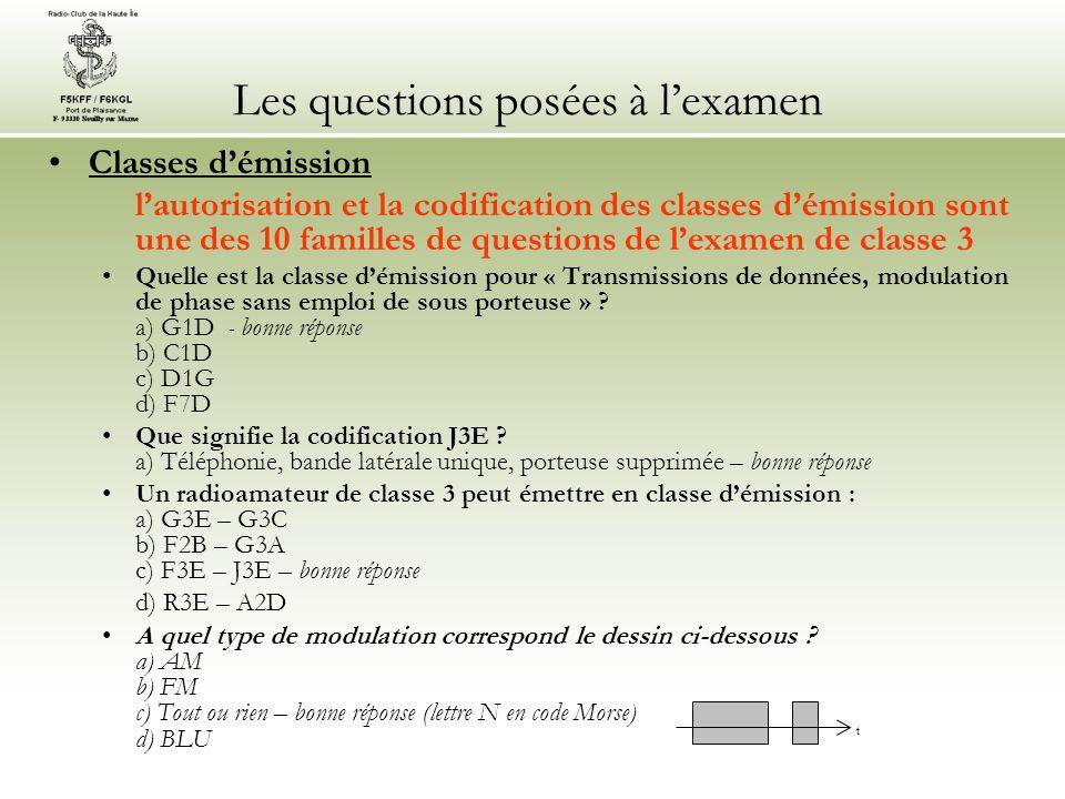 Les questions posées à lexamen Classes démission lautorisation et la codification des classes démission sont une des 10 familles de questions de lexam