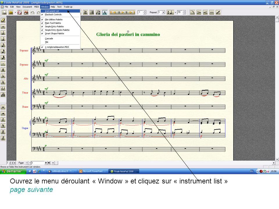 Ouvrez le menu déroulant « Window » et cliquez sur « instrument list » page suivante