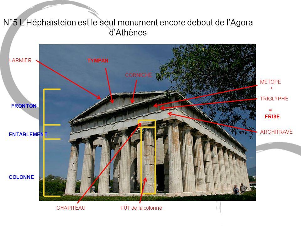 N°5 LHéphaïsteion est le seul monument encore debout de lAgora dAthènes LARMIER CORNICHE METOPE + TYMPAN TRIGLYPHE = FRISE ARCHITRAVE CHAPITEAUFÛT de
