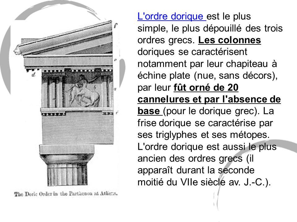 L'ordre dorique est le plus simple, le plus dépouillé des trois ordres grecs. Les colonnes doriques se caractérisent notamment par leur chapiteau à éc
