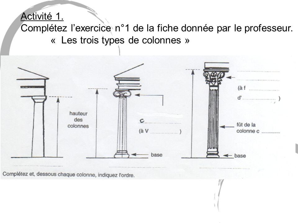Activité 1. Complétez lexercice n°1 de la fiche donnée par le professeur. « Les trois types de colonnes »