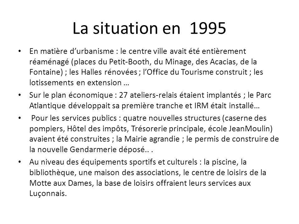 La situation en 1995 En matière durbanisme : le centre ville avait été entièrement réaménagé (places du Petit-Booth, du Minage, des Acacias, de la Fon