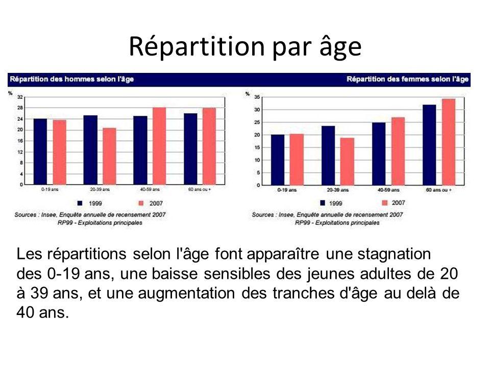 Répartition par âge Les répartitions selon l'âge font apparaître une stagnation des 0-19 ans, une baisse sensibles des jeunes adultes de 20 à 39 ans,