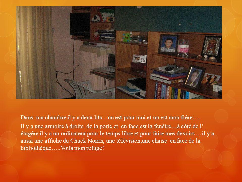 Jadore ma chambre. Dans ma chambre il y a deux bureaux et une armoire. Sur le bureau est un ordinateur et une affiche. Le lit est à côté de larmoire.