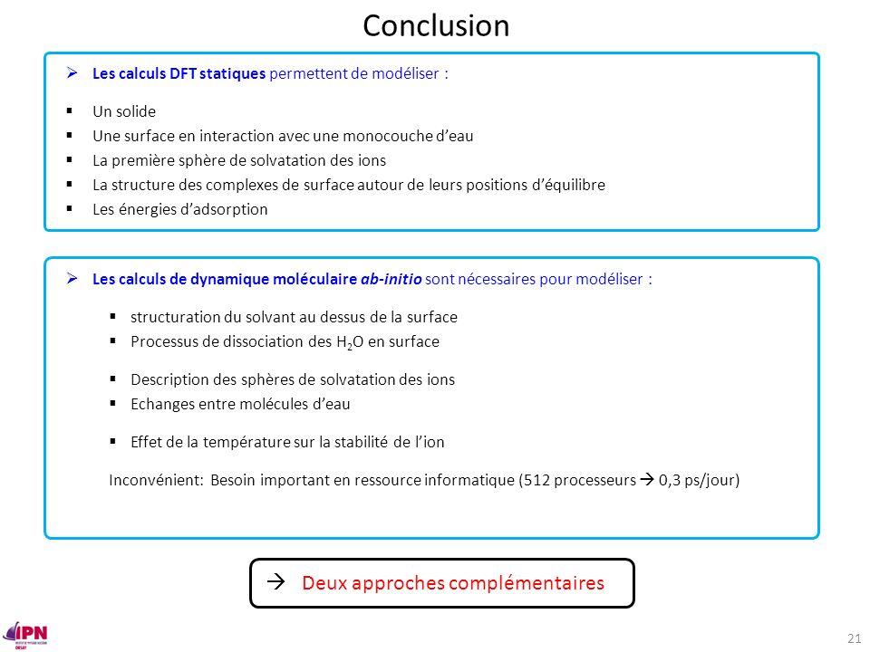 Conclusion Les calculs DFT statiques permettent de modéliser : Un solide Une surface en interaction avec une monocouche deau La première sphère de sol