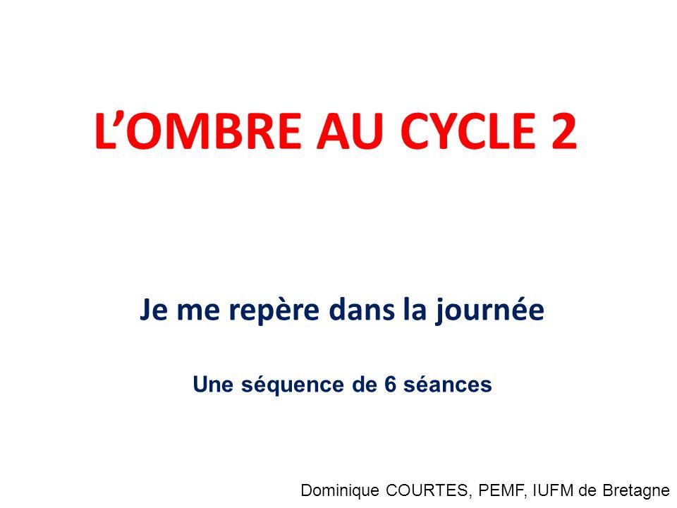 LOMBRE AU CYCLE 2 Je me repère dans la journée Une séquence de 6 séances Dominique COURTES, PEMF, IUFM de Bretagne