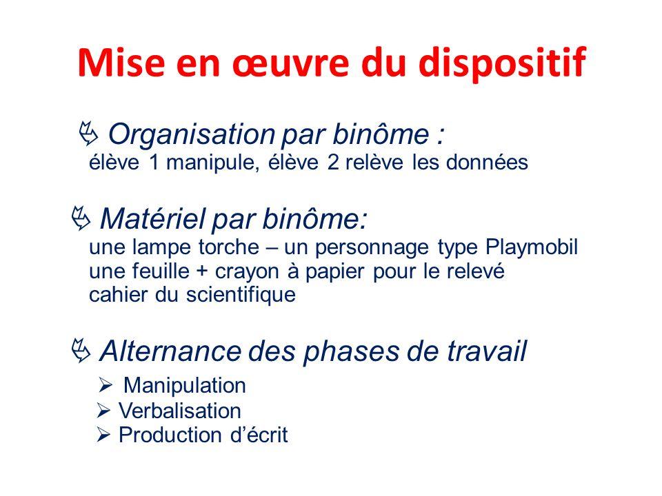 Mise en œuvre du dispositif Organisation par binôme : élève 1 manipule, élève 2 relève les données Matériel par binôme: une lampe torche – un personna