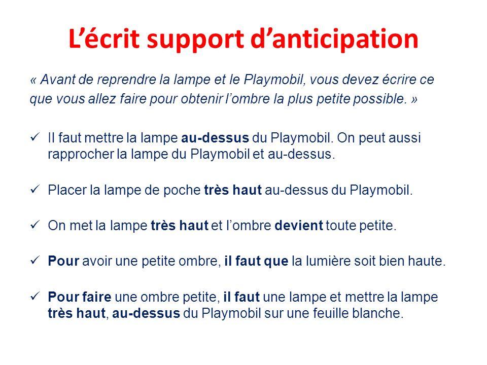 Lécrit support danticipation « Avant de reprendre la lampe et le Playmobil, vous devez écrire ce que vous allez faire pour obtenir lombre la plus petite possible.