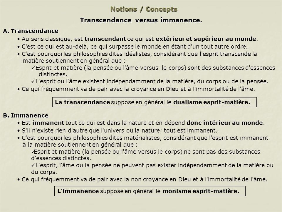Notions / Concepts Transcendance versus immanence.