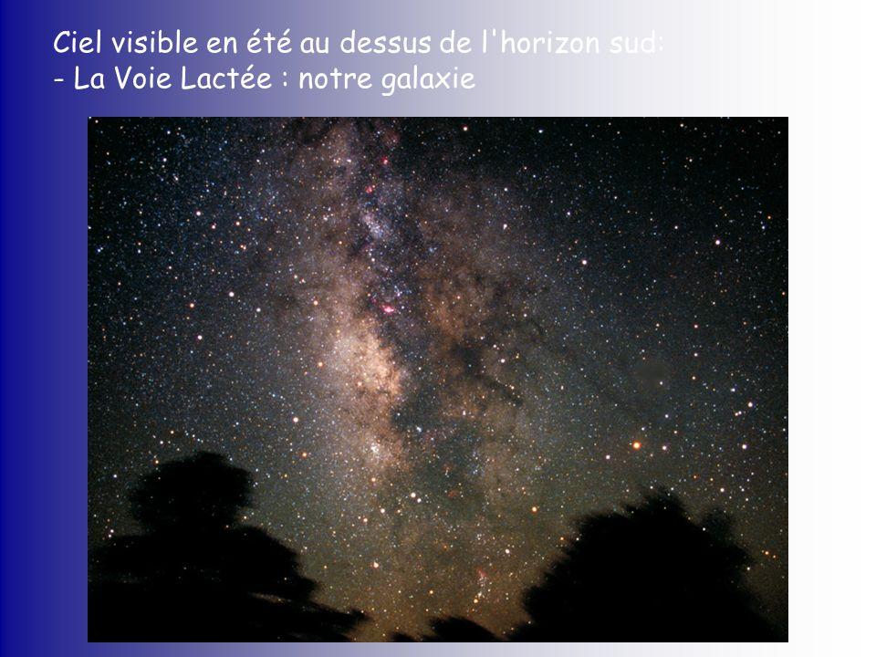 Ciel visible en été au dessus de l'horizon sud: - La Voie Lactée : notre galaxie