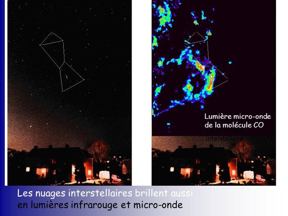Carte du gaz interstellaire Les nuages interstellaires brillent aussi en lumières infrarouge et micro-onde Lumière micro-onde de la molécule CO