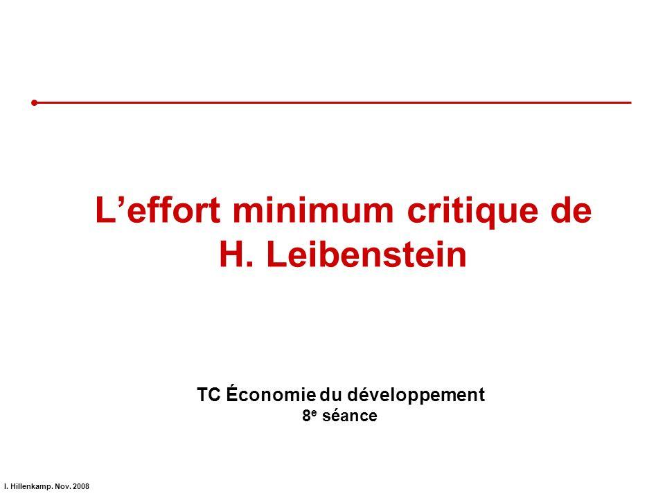 I. Hillenkamp. Nov. 2008 Leffort minimum critique de H. Leibenstein TC Économie du développement 8 e séance