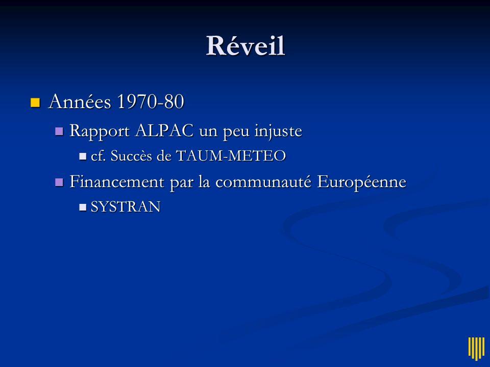 Déclin 1964 1964 Rapport ALPAC (Automatic Language Processing Advisory Committee) Rapport ALPAC (Automatic Language Processing Advisory Committee) Arr