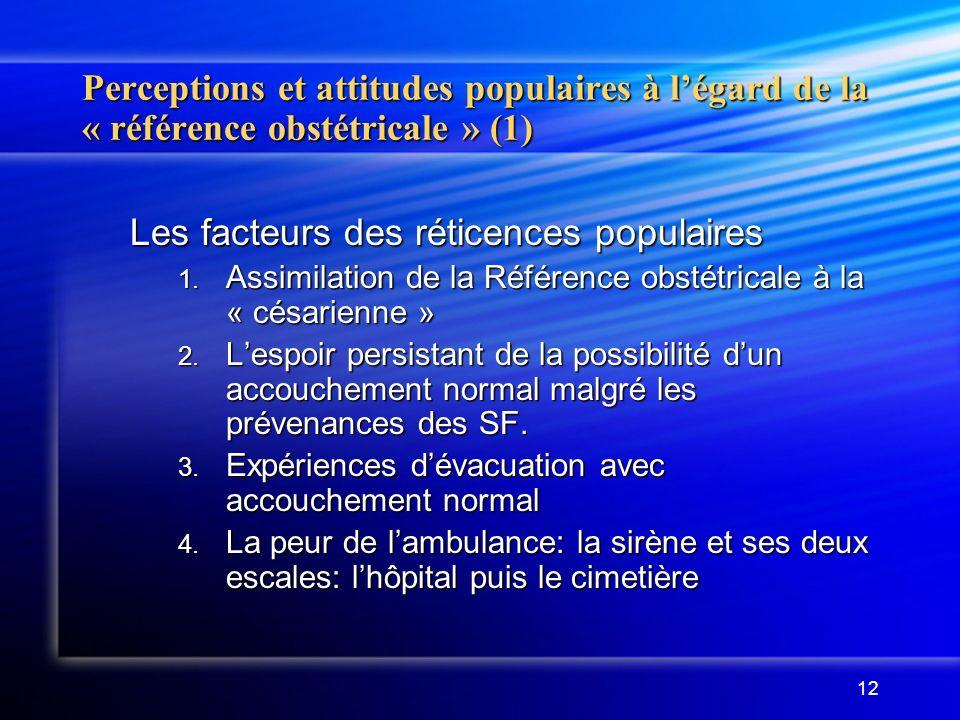 12 Perceptions et attitudes populaires à légard de la « référence obstétricale » (1) Les facteurs des réticences populaires 1. Assimilation de la Réfé