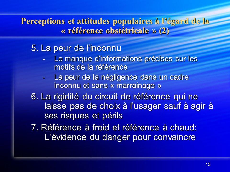 13 Perceptions et attitudes populaires à légard de la « référence obstétricale » (2) 5. La peur de linconnu - Le manque dinformations précises sur les