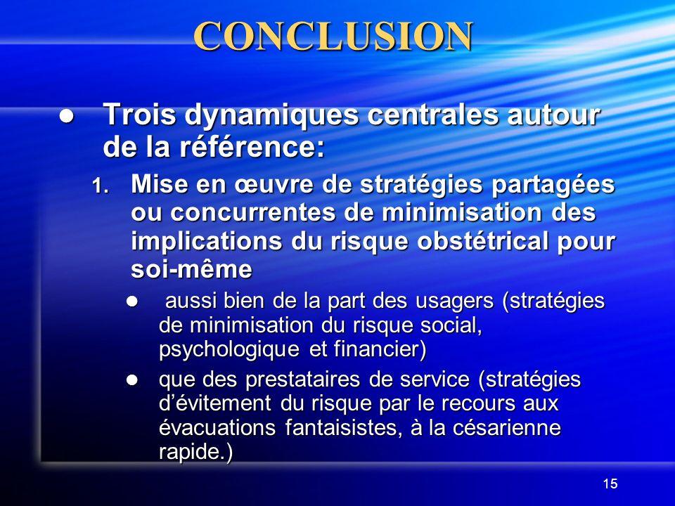 15CONCLUSION Trois dynamiques centrales autour de la référence: Trois dynamiques centrales autour de la référence: 1. Mise en œuvre de stratégies part