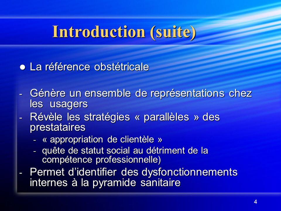 4 Introduction (suite) La référence obstétricale La référence obstétricale - Génère un ensemble de représentations chez les usagers - Révèle les strat