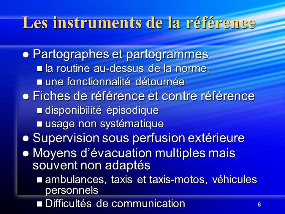 6 Les instruments de la référence Partographes et partogrammes Partographes et partogrammes la routine au-dessus de la norme, la routine au-dessus de