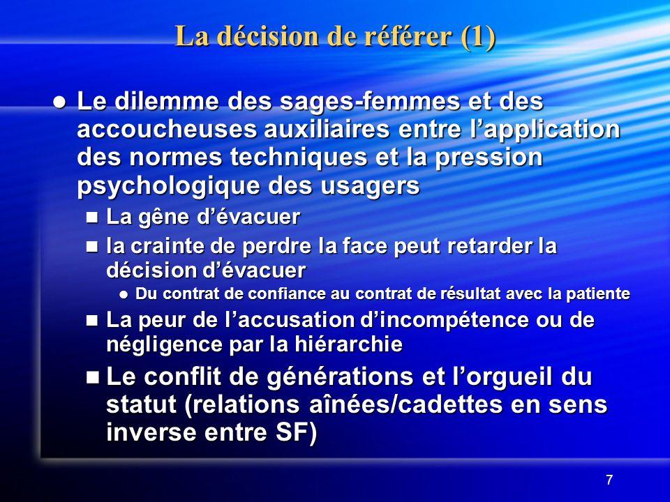 7 La décision de référer (1) Le dilemme des sages-femmes et des accoucheuses auxiliaires entre lapplication des normes techniques et la pression psych