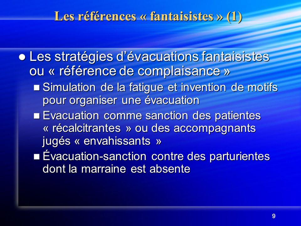 9 Les références « fantaisistes » (1) Les stratégies dévacuations fantaisistes ou « référence de complaisance » Les stratégies dévacuations fantaisist
