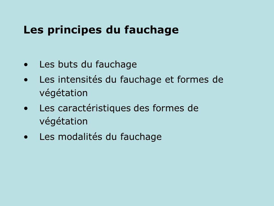 Les principes du fauchage Les buts du fauchage Les intensités du fauchage et formes de végétation Les caractéristiques des formes de végétation Les mo