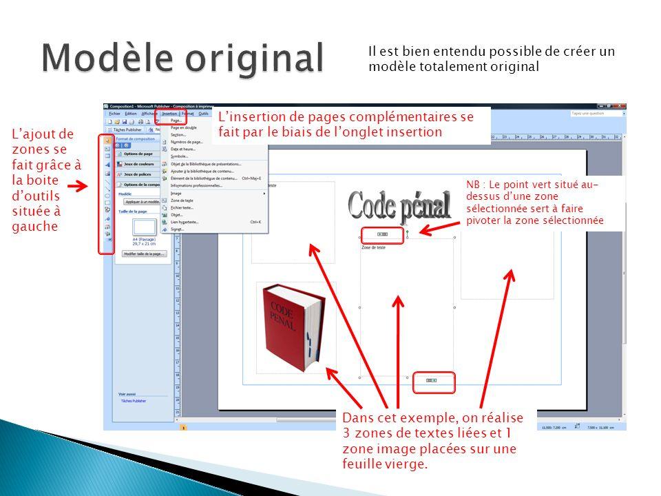 Il est bien entendu possible de créer un modèle totalement original Dans cet exemple, on réalise 3 zones de textes liées et 1 zone image placées sur une feuille vierge.