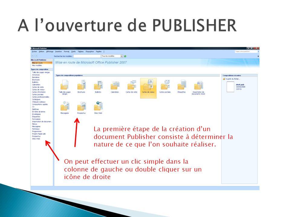 On peut effectuer un clic simple dans la colonne de gauche ou double cliquer sur un icône de droite La première étape de la création dun document Publisher consiste à déterminer la nature de ce que lon souhaite réaliser.