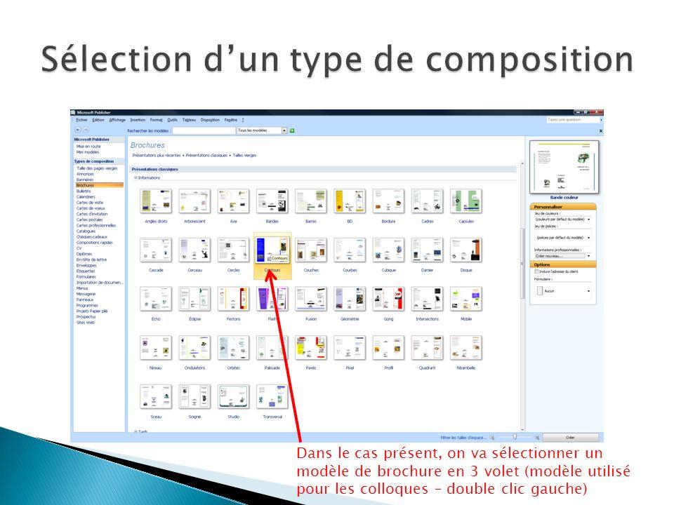 La colonne de gauche permet de modifier le contenu des différents modules qui composent la brochure