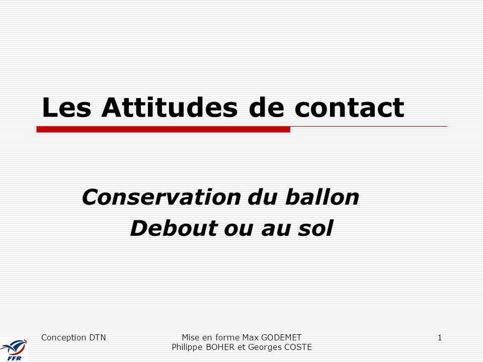 Conception DTNMise en forme Max GODEMET Philippe BOHER et Georges COSTE 1 Les Attitudes de contact Conservation du ballon Debout ou au sol