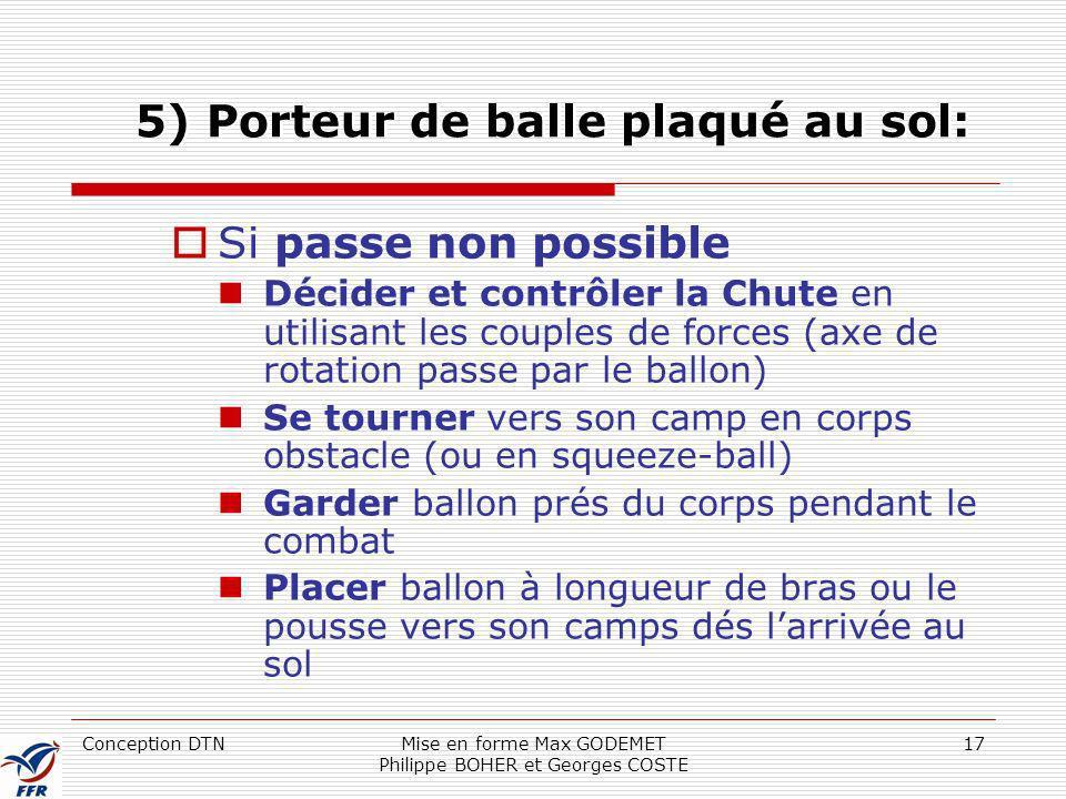 Conception DTNMise en forme Max GODEMET Philippe BOHER et Georges COSTE 17 5) Porteur de balle plaqué au sol: Si passe non possible Décider et contrôl