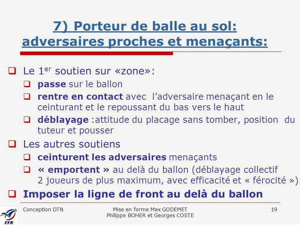 Conception DTNMise en forme Max GODEMET Philippe BOHER et Georges COSTE 19 7) Porteur de balle au sol: adversaires proches et menaçants: Le 1 er souti