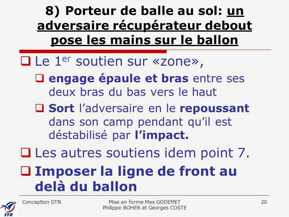 Conception DTNMise en forme Max GODEMET Philippe BOHER et Georges COSTE 20 8) Porteur de balle au sol: un adversaire récupérateur debout pose les main
