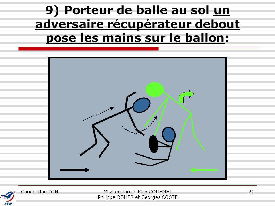 Conception DTNMise en forme Max GODEMET Philippe BOHER et Georges COSTE 21 9) Porteur de balle au sol un adversaire récupérateur debout pose les mains