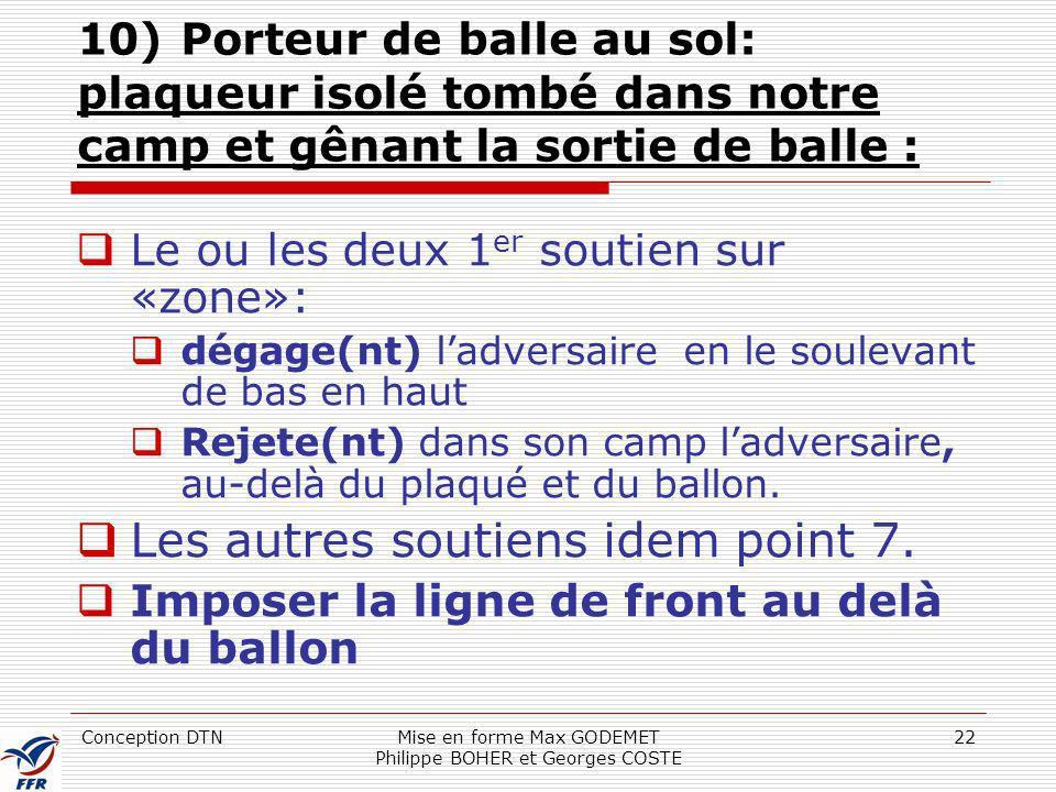 Conception DTNMise en forme Max GODEMET Philippe BOHER et Georges COSTE 22 10) Porteur de balle au sol: plaqueur isolé tombé dans notre camp et gênant