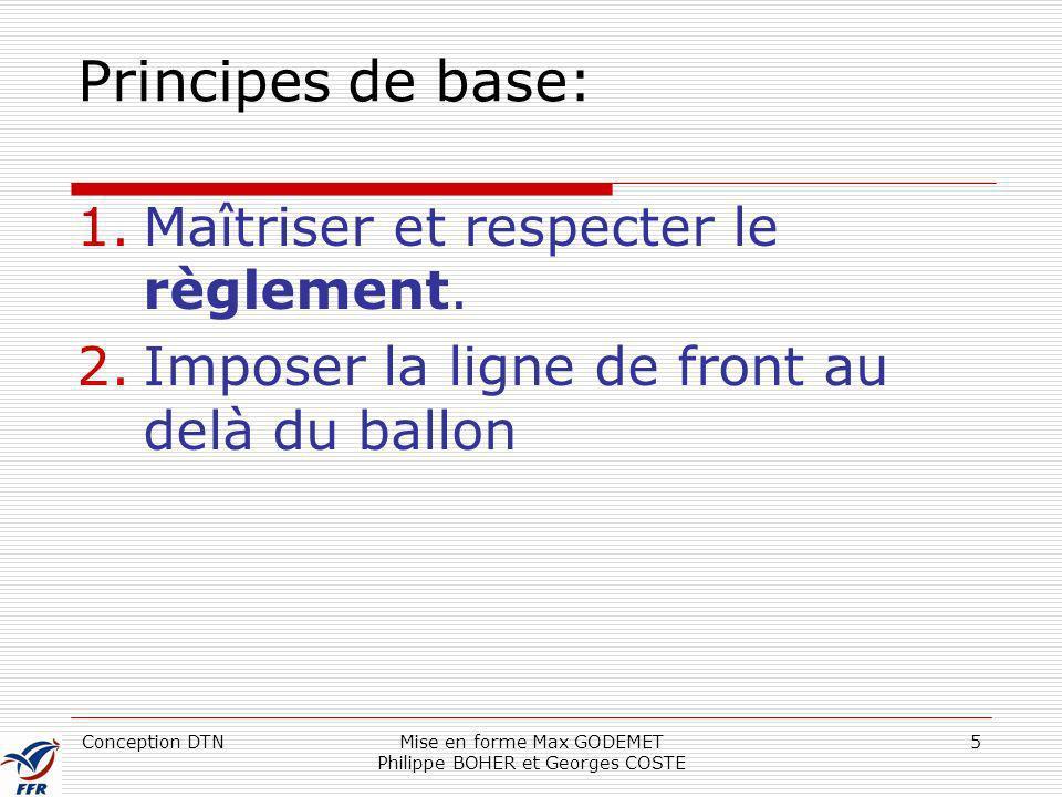 Conception DTNMise en forme Max GODEMET Philippe BOHER et Georges COSTE 5 Principes de base: 1.Maîtriser et respecter le règlement. 2.Imposer la ligne
