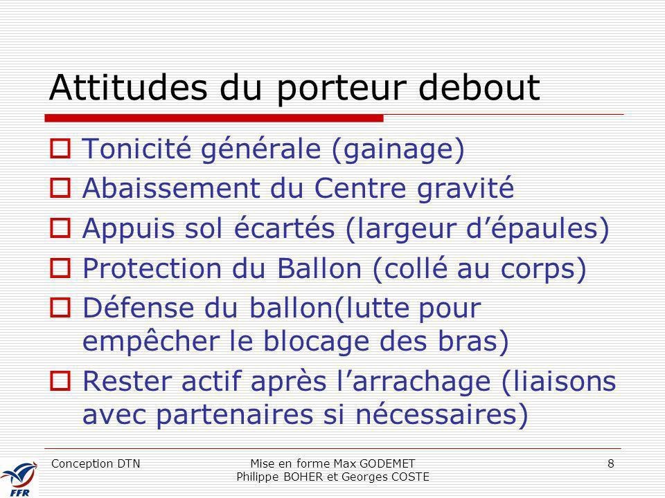 Conception DTNMise en forme Max GODEMET Philippe BOHER et Georges COSTE 8 Attitudes du porteur debout Tonicité générale (gainage) Abaissement du Centr
