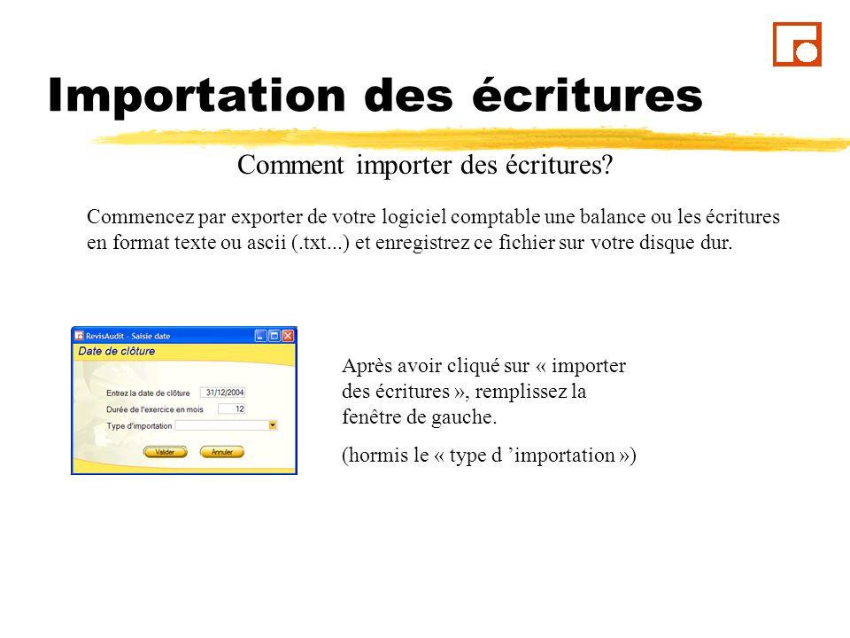 Importation des écritures Dans la fenêtre ci contre, ouvrez le fichier de la balance précédemment exportée en cliquant sur les trois points.