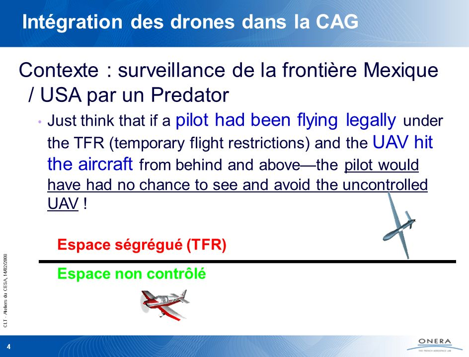 CLT - Ateliers du CESA, 14/02/2008 4 Intégration des drones dans la CAG Just think that if a pilot had been flying legally under the TFR (temporary flight restrictions) and the UAV hit the aircraft from behind and abovethe pilot would have had no chance to see and avoid the uncontrolled UAV .