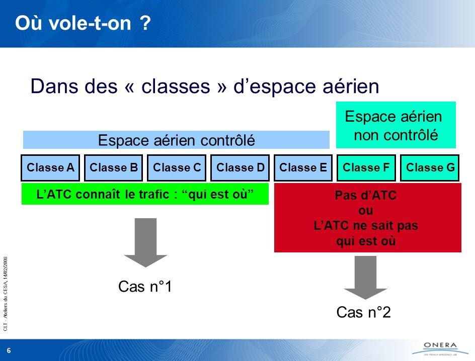 CLT - Ateliers du CESA, 14/02/2008 6 Où vole-t-on .