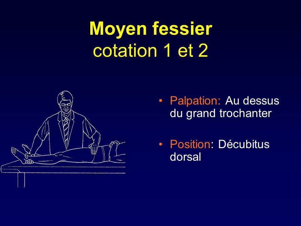 Moyen fessier cotation 1 et 2 Palpation: Au dessus du grand trochanter Position: Décubitus dorsal