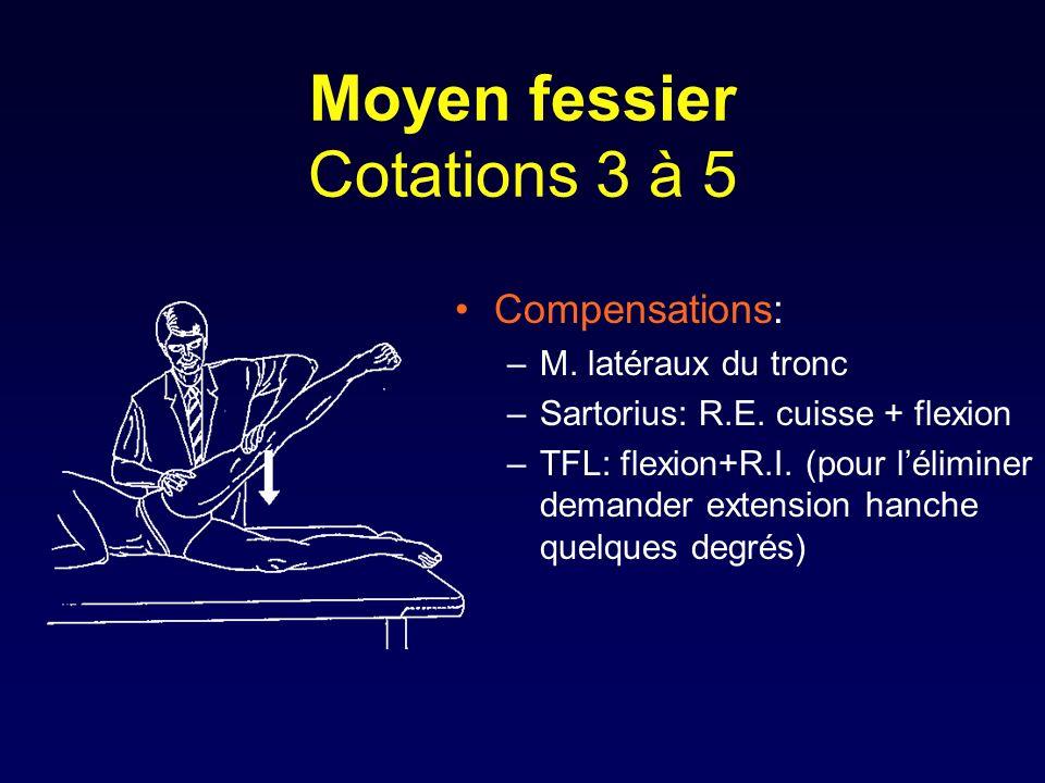 Moyen fessier Cotations 3 à 5 Compensations: –M. latéraux du tronc –Sartorius: R.E. cuisse + flexion –TFL: flexion+R.I. (pour léliminer demander exten
