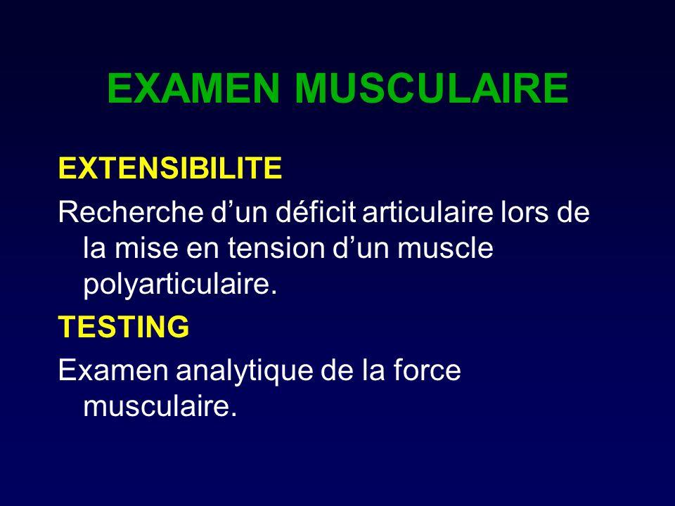 EXAMEN MUSCULAIRE EXTENSIBILITE Recherche dun déficit articulaire lors de la mise en tension dun muscle polyarticulaire. TESTING Examen analytique de
