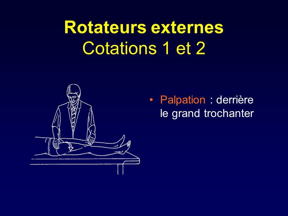 Rotateurs externes Cotations 1 et 2 Palpation : derrière le grand trochanter